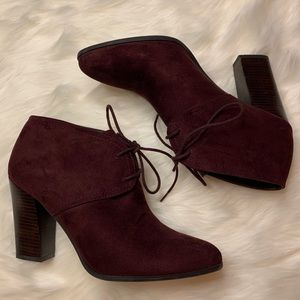 Maroon Ankle Heeled Boots
